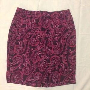 Merona Paisley Purple and Pink Print Work Skirt 10